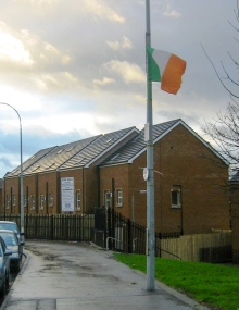 Ireland tricolour flags at new social housing development, Markets area, Belfast, Northern Ireland. (c) Gordon GILLESPIE
