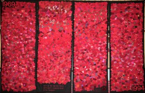 1969-1994: Each of the 3,161 red pieces represents someone killed in the Troubles. Northern Ireland Quilt, Irene MacWilliam (1995); photo by Martin Melaugh
