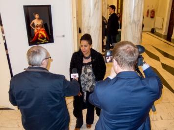 Belonging Photo subject Maria being interviewed