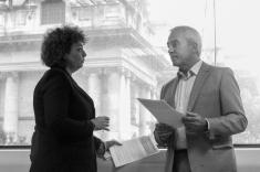Caral Ni CHUILIN MLA and Pat SHEEHAN MLA discuss installation. (c) Lise McGREEVY